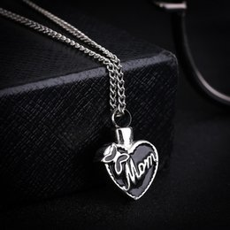 "Keepsake Christmas Gifts NZ - Stainless Steel ""Mom In Heart"" Cremation Urn Necklace Ashes Urn Pendant Mother'S Day Gift Jewelry Keepsake Locket Jewelry"