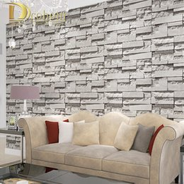 Roll White Paper NZ - Wholesale-10M Roll 3D Real Look Realistic Brick wall Wallpaper White Grey Real Deep Embossed T0extured Wall paper Roll home decor R300