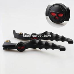 Skull Lever NZ - Free Shipping Black Red Eyes Skull Skeleton Zombie Brake Clutch Lever Fits For Honda Shadow VTX VT 600 750 Custom