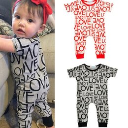 baby love wholesale clothing NZ - Ins Summer Cute Infant Baby Cartoon Love Rompers Boys Girls Kids Short Sleeve Cotton Rompers Toddlers Climb Clothes Child Overalls Jumpsuits