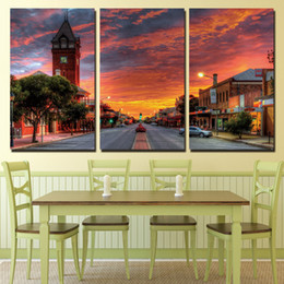 street art painting frame 2019 - 3 Pieces Rosy Could Downtown Street Wall Art Canvas Pictures For Living Room Bedroom Home Decor Printed Canvas Paintings