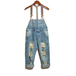 Chinese  Wholesale-Men's fashion hole ripped denim bib overalls Male casual water washed blue crop jeans Jumpsuits Shorts Free shipping manufacturers