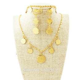 $enCountryForm.capitalKeyWord UK - Coin Set Jewelry Necklace Earring Bracelet For Women Gold Color Fashion Jewelry Coins Men
