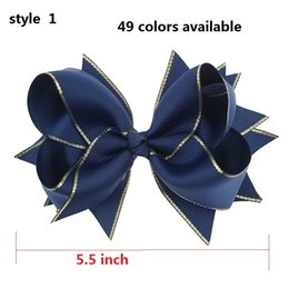 """$enCountryForm.capitalKeyWord Canada - 6 style available ! 5.5"""" Navy Children Baby Girls Hair Bows With 6cm Hair Clips Luxry Gold Ribbon Bows For Girls Hair Accessories 50pcs"""