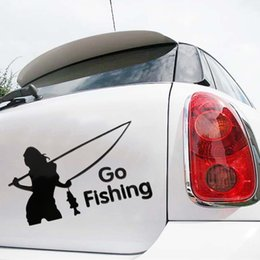 Wholesale sexy car stickers online shopping - Sexy Fishing Women Car Truck Window Mirror Body Safety Decal Sticker