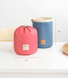 $enCountryForm.capitalKeyWord Canada - New Korean elegant large capacity Barrel Shaped Nylon Wash Organizer Storage Travel Dresser Pouch Cosmetic Makeup Bag For Women