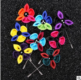 black multi dress Canada - Multi-colored petals flowers brooches pins mens suits dress floral bouquet corsages for wedding party birthday gifts