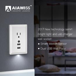 AIAWISS Светодиодный ночник с автоматическим датчиком заката до рассвета и 5V 2.4 A двойной USB зарядное устройство настенные розетки, розетка адаптер штекер белый черный