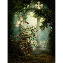 vintage bird painting 2020 - Vintage Castle Garden Photography Backdrop Stone Pavilion Tree Pink Flowers Birds Lanterns Outdoor Scenic Children Weddi