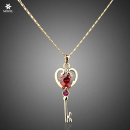 $enCountryForm.capitalKeyWord Australia - Wholesale MOZEL Swarovski Elements Gold Plated Red Stellux Austrian Crystals Unlocking Key Design Pendant Necklace TN0008