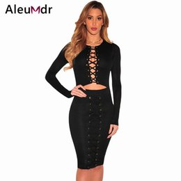 Barato Venda De Vestidos-Atacado- Aleumdr Hot Sale Sexy Club Dresses 2017 Brown / Black Long Sleeves Lace-up Cutout Body-conscious Bodycon Vestido Vestidos De Festa