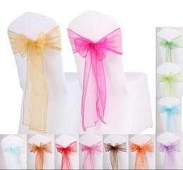 organza bows for decoration Australia - Beautiful Organza Bows For Wedding Chair Sashes For Wed Events Supplies Party Decoration Chair Cover Sash Various Colors To Choose ZA0318