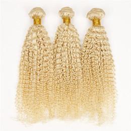 Discount blonde mongolian curly hair - 9A Grade Virgin Brazilian Blonde Human Hair Weaves 3Pcs #613 Blonde Brazilian Human Hair Bundles Deep Curly Virgin Hair
