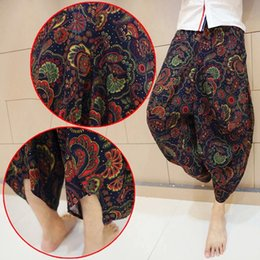 Pantalones Hippie Harem Baratos-Plus Size Mens Womens Gypsy Hippie Aladdin Baggy Indian Harem Pants Mujeres Pantalones Boho Casual Nepal Mens Trousers