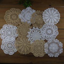 "White Cotton Napkins Canada - lot of 12 Hand Crochet Doily,5 Beige, 7 White, 7""-8""-9"" RD for Cotton Shabby Boho Mat Pad Vintage Home Wedding Table Napkin"
