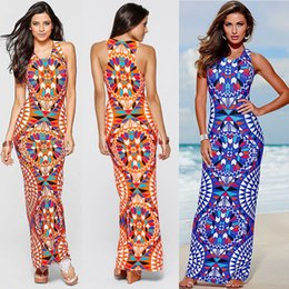 Sexy Blue Clothes For Women Canada - Maxi Dress Summer Bohemian Boho Dresses ladies New Fashion Sexy Sleeveless Print Bandage Tank Long party Dresses For Women Clothing