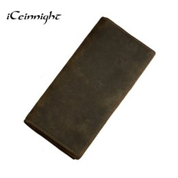 China Wholesale- iCeinnight 100% genuine leather bag Long Size Cowhide Purse real mens wallet leather genuine vintage man bag multi-card billfold cheap mens billfold wallets suppliers