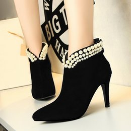 Short Formal Wedding Dress NZ - Pearl Lady Short Boot Dress Shoes Sexy Women High Heels Suede Festival Party Wedding Shoes Slim Formal Pumps Ankle Boots W16S156