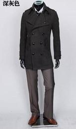 Korean Men S Jacket Canada - 2017 grey black Korean teenage double breasted wool coat men trench jackets mens wool coats overcoats dress winter S - 9XL