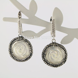 $enCountryForm.capitalKeyWord NZ - 4pair Pave Rhinestone Roses Shell Charms Clip Earrings , Earring Jewelry Finding