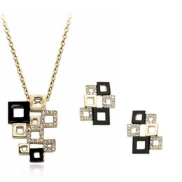 Fashion jewelry sets online shopping - 18K Gold Plated Bridal Full Rhinestone Necklace Earrings Jewelry Setting Price for Women Wedding Jewelry Set Fashion Bride Jewelry Sets