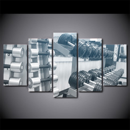 Oil Equipment Canada - 5 Pcs Set Framed HD Printed Gym Equipment Dumbbell Canvas Art Painting Poster Picture For Home Decorative Wall Pictures