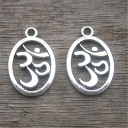 $enCountryForm.capitalKeyWord NZ - 25pcs--OM Charms ,Antique Tibetan Silver Tone 2 side Yoga Symbol charm Pendants 22 x14mm
