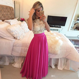 evening dress fuchsia Canada - 2017 New Sexy Fuchsia Chiffon Long Prom Dresses Seen Through Lace Top Pearls Top Floor Length Party Evening Dresses