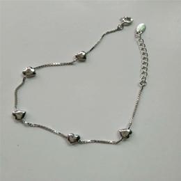 $enCountryForm.capitalKeyWord Canada - 100% 925 Sterling Silver Box Chain Bracelet Love Heart 16CM Links Charms Bracelet & Bangles For Women Wedding Birthday Gifts