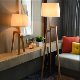 Light Wood Flooring Canada - three foot floor lamp new Chinese style livingroom study bedroom vertical coffee shop solid wood floor lamps Hotel clubhouse Placing lamp