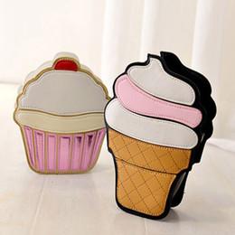 Ladies Cream Handbags NZ - Wholesale- 2016 Ladies ice cream Cake Bags PU leather Messenger Bags Small Size Handbags Cake Bag Cartoon Bag