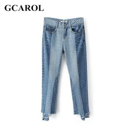 Barato Calça Estilo Euro-Atacado- GCAROL 2017 Mulheres Euro Style Two-Tone Colored Spliced ​​Denim Jeans Ankel-Length Calças Moda Early Spring Summer Jeans