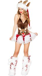 Barato Trajes De Animais Sexy Para Adultos-Sexy Woman Costume Adulto Sexy Dress Brown Deer Animal Dress Christmas Halloween Costumes Superwoman Cosplay Costume