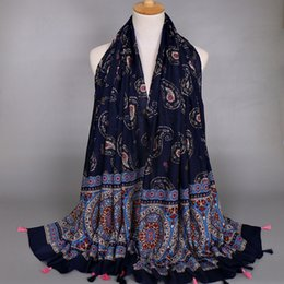 Cashew Hijab Shawl Canada - Wholesale-2016 Women printe cashew tassels popular bohemian fashion cotton design shawls floral muslim HIJAB scarves scarf 10pcs lot