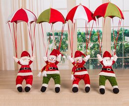 Wholesale 4pcs Xmas Ornament Misaky Christmas Tree Hanging Santa Claus Snowman In Parachute Decoration Festival Gift