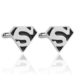 Superhero Shirts Wholesale Canada - Superman Logo Men Cufflinks Superhero French Cufflinks Shirts Silver Plated Cuff Links Fashion Accessories For Gift