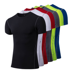 ba2797a8b1e Hot Men s T-shirt Compression Fitness Tights Blank Football Tops World Cup  Jersey Wholesale Cheap 2018