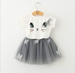 Barato Impressão De Camisetas De Verão-Retail Girls Roupas Sets Summer Fashion Style Cartoon Kitten Print T-Shirts + Net Veil Dress Two Piece Girls Clothes Sets 70231