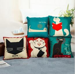 18inch Fashion Cats Cotton Linen Pllow Case Waist Pillow Cover Cool Cat Design Pillowcase For Home Hotel & Cool Pillow Case Designs Online | Cool Pillow Case Designs for Sale pillowsntoast.com