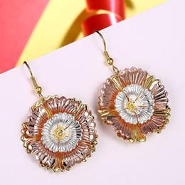 beautiful earrings girls 2019 - Lady Beautiful Rose Gold Chrysanthemum Pendant Earrings Lady Fashion Party Flower Earrings Accessories Girl Birthday Gif