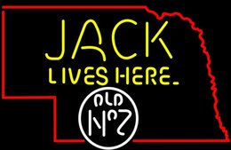 Chinese  Fashion New Handcraft Jack Lives Here Nebraska Map Real Glass Beer Bar Display neon sign 19x15!!!Best Offer! manufacturers