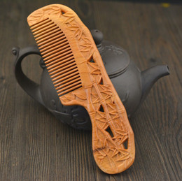 Double Hair Combs Canada - Genuine double-sided carving wooden massage wooden hair anti-static mahogany gift comb