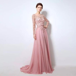 Light Pink Quinceanera Canada - Light Pink Beaded Sequins A-Line Evening Dresses Scoop Long Sleeve Sweep Train Chiffon Prom Quinceanera Dresses