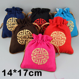 $enCountryForm.capitalKeyWord Canada - 14x17 cm Embroidered Lucky Drawstring Pouch Cotton Linen Jewelry Storage Bag Chinese Style Candy Tea spices Packaging Bags 50pcs lot