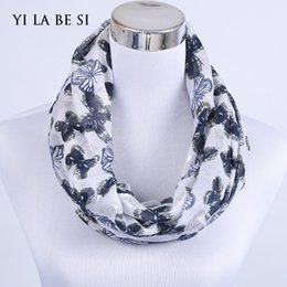 Ring Neck Female Canada - Wholesale-2016 New Female Butterfly Thermoprint Silver Infinity Scarf Fashion Women Ring Collars Neck O Loop Scarf Mixed Design Spring