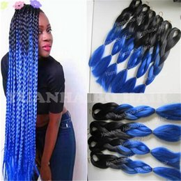 $enCountryForm.capitalKeyWord Canada - Wholesale Cheap 20inch black blue ombre jumbo braid hair 1 jet black synthetic braiding hair for twist braids and box braids free shipping