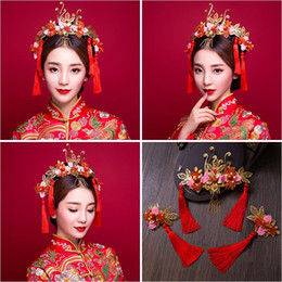 $enCountryForm.capitalKeyWord UK - Woman headdress hair Lomen bride headdress pink tassel costume wedding show clothing hair Coronet wo 6210846