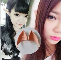 Barato Elfo Fantasia Hobbit-Top Grade Latex Halloween Party Cosplay Acessórios Latex Soft Pointed Prosthetic Wizard Elf Fairy Hobbit Vulcan Spock Costume Tips Orelhas