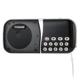 volume control radios 2019 - Wholesale-Original Speaker LONGRUNER L - 23 Pocket Size FM Radio Speaker Portable Audio Player With TF Card Slot Support