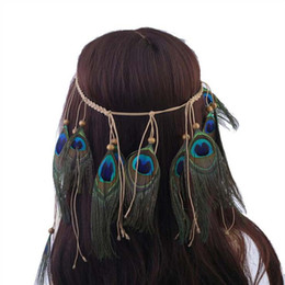 peacock feather wedding hair accessories NZ - 2017 Fashion Bohemian Feather Headband handmade Headdress Boho Peacock Feather Hair Accessories For Women wedding Jewelry